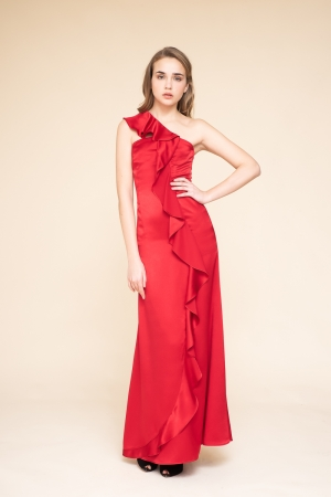 LONG DRESS IN CADY CON RUCHES