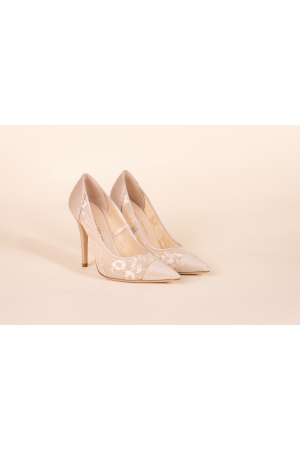 SATIN LACE POINTED-TOE PUMPS