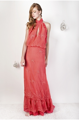 check out 3f8d1 215a2 ABITO LUNGO IN PIZZO IN TULLE RICAMATO