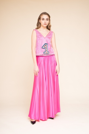 LONG SLEEVELESS DRESS WITH...