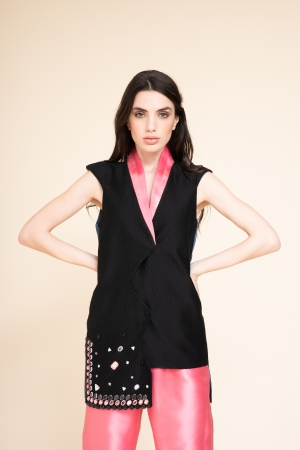 VEST WITH ASYMMETRICAL LACING