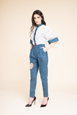 HIGH-WAISTED SLACKS WITH...