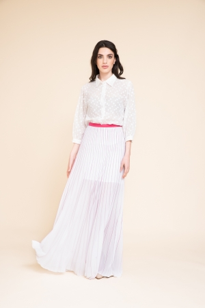 LONG FLAT-PLEATED SKIRT